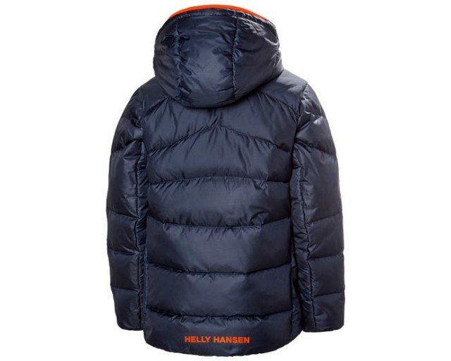 HELLY HANSEN JR ISFJORD DOWN MIX JACKET NAVY BACK