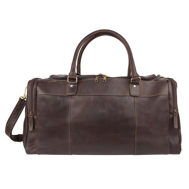 WEEKEND BAG LARGE THE MONTE - Calf Leather - Brown - Front